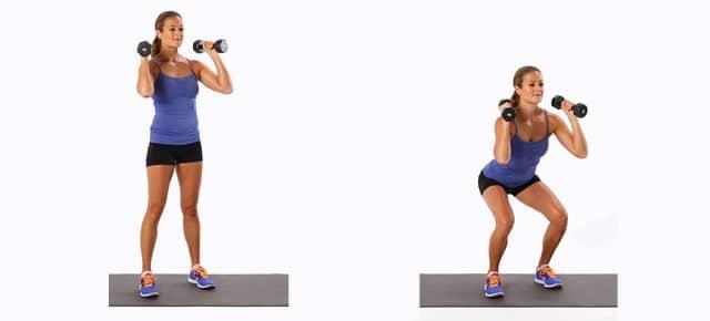 dumbbell squat esercizio